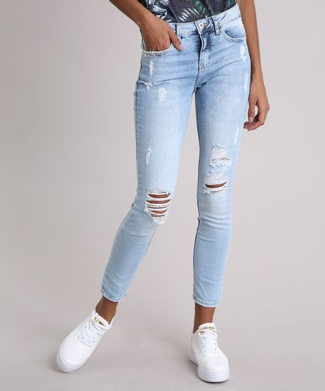 Calca-Jeans-Feminina-Super-Skinny-Destroyed-com-Piercings-Azul-Claro-9102249-Azul_Claro_1