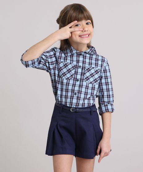 Camisa-Infantil-Xadrez-com-Bolsos-Manga-Longa-Azul-Claro-8912639-Azul_Claro_1