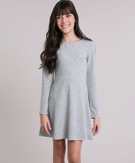 Vestido-Infantil-Canelado-Manga-Longa-com-Abertura-Cinza-Mescla-9140695-Cinza_Mescla_1