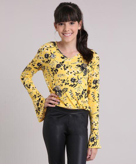 Blusa-Infantil-Cropped-Floral-Manga-Longa-Decote-redondo-Amarela-9148547-Amarelo_1