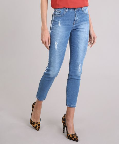 Calca-Jeans-Feminina-Cigarrete-Faixa-Lateral-com-Lurex-Azul-Medio-9201338-Azul_Medio_1