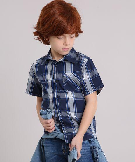 Camisa-Infantil-Xadrez-Manga-Curta-com-Bolso-Azul-Marinho-8439929-Azul_Marinho_1