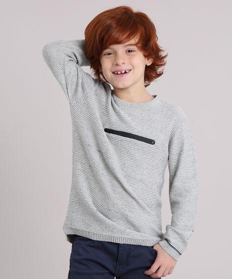 Sueter-Infantil-Canelado-em-Trico-com-Ziper-Manga-Longa-Decote-Redondo-Cinza-Mescla-Claro-8868508-Cinza_Mescla_Claro_1