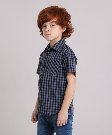 Camisa-Infantil-Xadrez-Manga-Curta-com-Bolso-Cinza-8439929-Cinza_1
