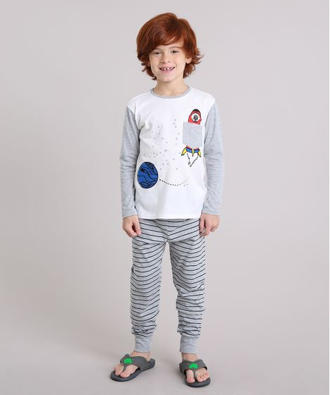 563d276866 Pijama Infantil com Estampa Espacial que Brilha no Escuro com Bolso ...