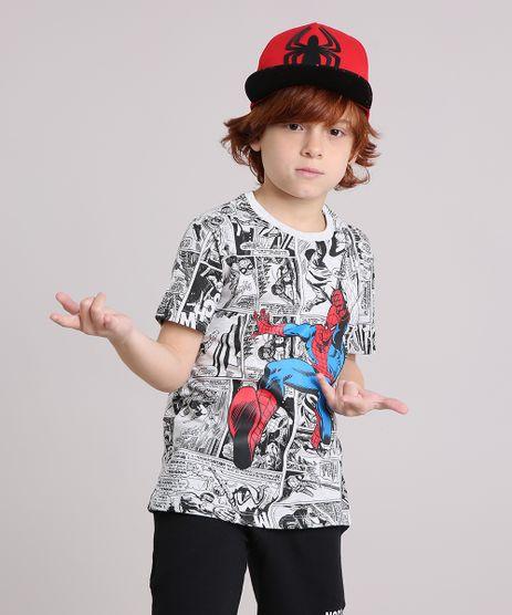 Camiseta-Infantil-Homem-Aranha-Quadrinhos-Manga-Curta-Gola-Careca-Cinza-Mescla-Claro-9174934-Cinza_Mescla_Claro_1
