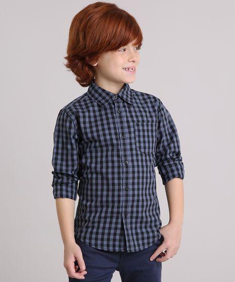 Camisa-Infantil-Xadrez-Manga-Curta-com-Bolso-Cinza-8439899-Cinza_1