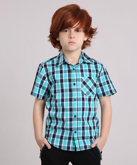 Camisa-Infantil-Xadrez-Manga-Curta-com-Bolso-Verde-8439929-Verde_1