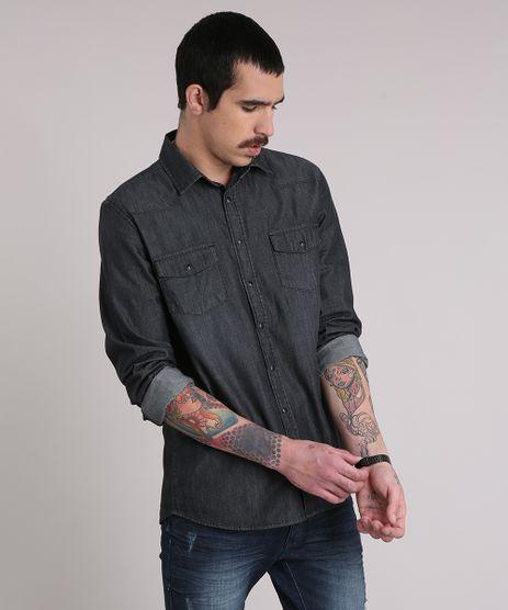 Camisa-Jeans-Masculina-com-Bolsos-Manga-Longa-Preta-8822804-Preto_1