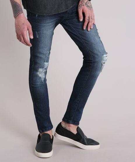 Calca-Jeans-Masculina-Skinny-Destroyed-Azul-Escuro-9110313-Azul_Escuro_1