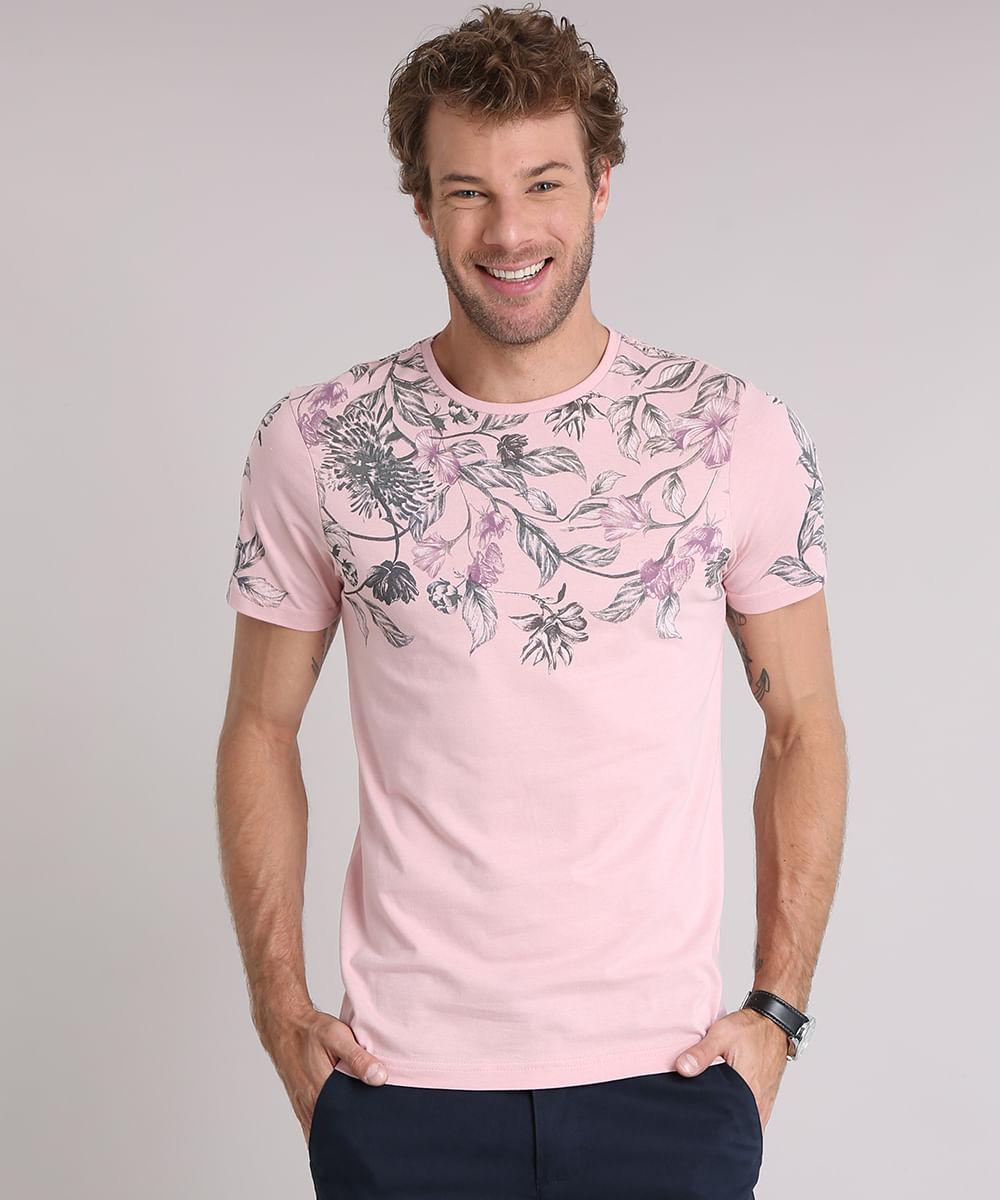 82e45ee9f4443 Camiseta Masculina Slim Fit com Estampa Floral Manga Curta Gola ...