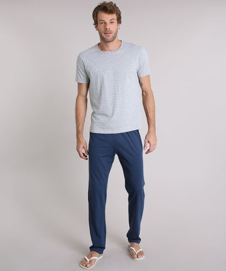 Pijama-Masculino-Estampado-Manga-Curta-Gola-Careca-Cinza-Mescla-9147953-Cinza_Mescla_1