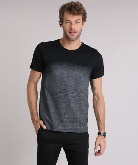 Camiseta-Masculina-Slim-Fit-com-Estampa-Degrade-Manga-Curta-Gola-Careca-Preta-9197266-Preto_1