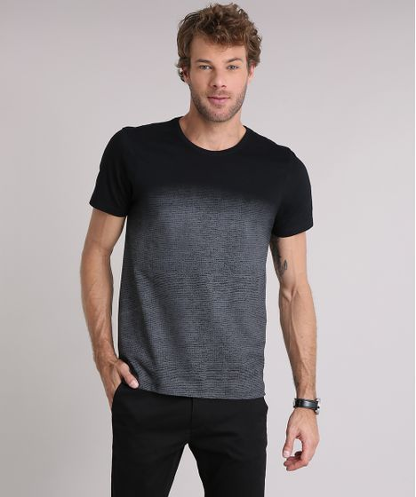 Camiseta Masculina Slim Fit com Estampa Degradê Manga Curta Gola ... 239c6a9a26959