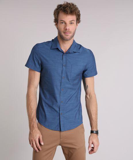 Camisa-Masculina-Slim-com-Bolso-Manga-Curta-Azul-8852709-Azul_1