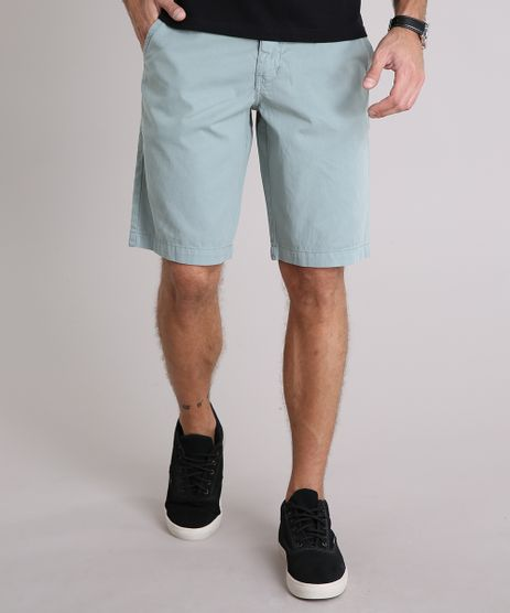 Bermuda-Sarja-Masculina-Reta-com-Cinto-Cadarco-Listrado-e-Bolsos-Verde-9100776-Verde_1
