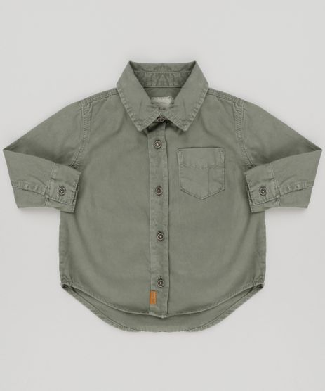Camisa-Infantil-com-Bolso-Manga-Longa-em-Algodao---Sustentavel-Verde-Militar-9158808-Verde_Militar_1