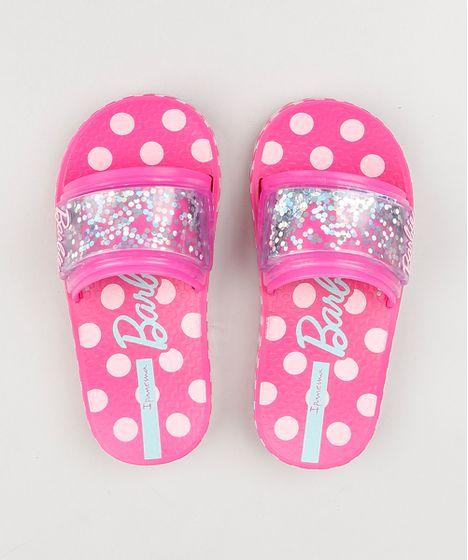 2aa6119e8c3d2 Chinelo Infantil Slide Ipanema Barbie com Glitter Rosa - cea