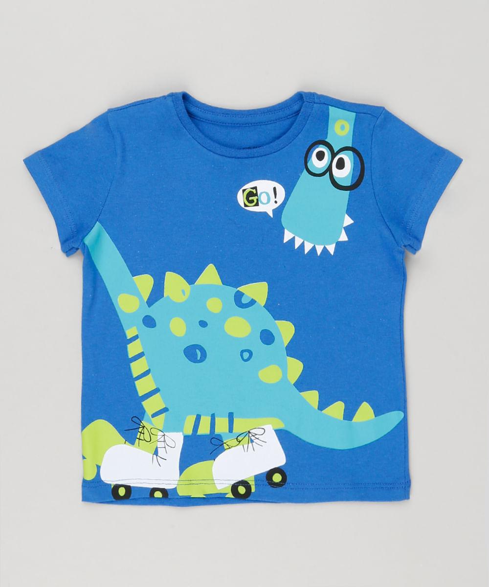 349a30046e Camiseta Infantil Dinossauro Manga Curta Gola Redonda Azul Royal - cea