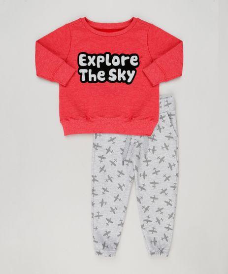Conjunto-Infantil-de-Blusao--Explore-The-Sky--Vermelho---Calca-Estampada-de-Avioes-em-Moletom-Cinza-Mescla-9118257-Cinza_Mescla_1