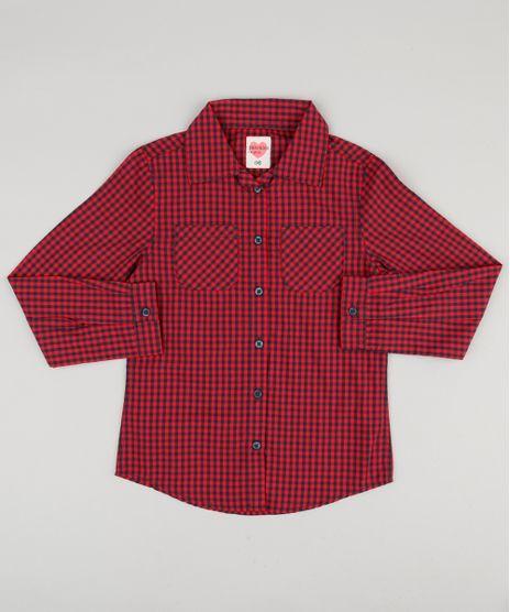 Camisa-Infantil-Xadrez-com-Bolsos-Manga-Longa-Vermelha-8912004-Vermelho_1