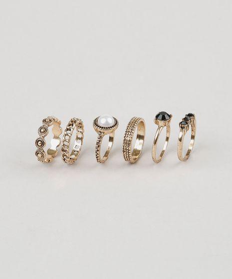 Kit-de-6-Aneis-Femininos-Dourado-9029810-Dourado_1