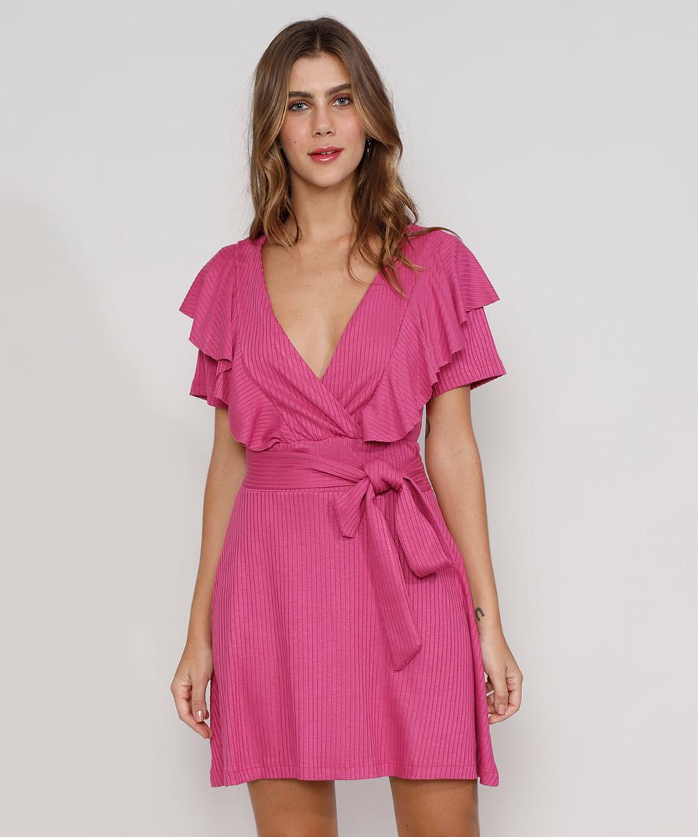 Vestido Feminino Curto Canelado com Transpasse e Babado Manga Curta Rosa Escuro