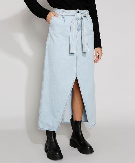 Saia-Jeans-Feminina-Midi-Clochard-com-Fenda-e-Cinto-Azul-Claro-9971596-Azul_Claro_1