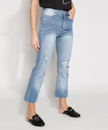 Calca-Jeans-Feminina-Destroyed-Cintura-Alta-Cropped-Flare-com-Barra-a-Fio-Azul-Claro-9982486-Azul_Claro_1