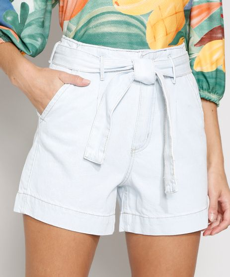 Bermuda-Jeans-Feminina-Cintura-Alta-Clochard-com-Faixa-para-Amarrar-Azul-Claro-9982407-Azul_Claro_1