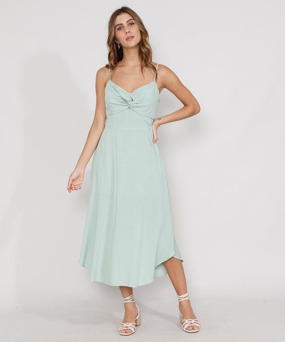 Vestido Feminino Midi com Torcido Alça Fina Verde Claro