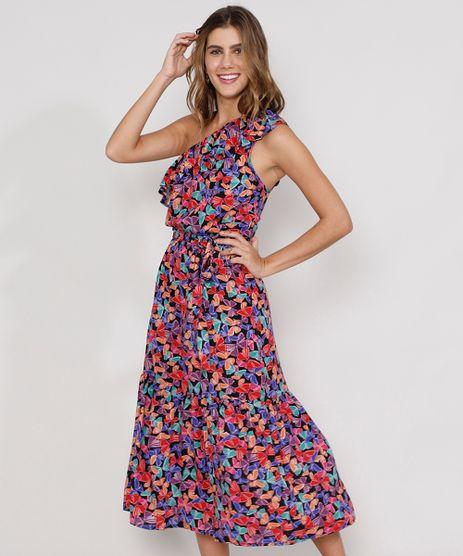 Vestido-Feminino-Midi-Um-Ombro-So-Estampado-de-Borboletas-com-Babado-e-Faixa-para-Amarrar-Alca-Larga-Preto-9978518-Preto_1
