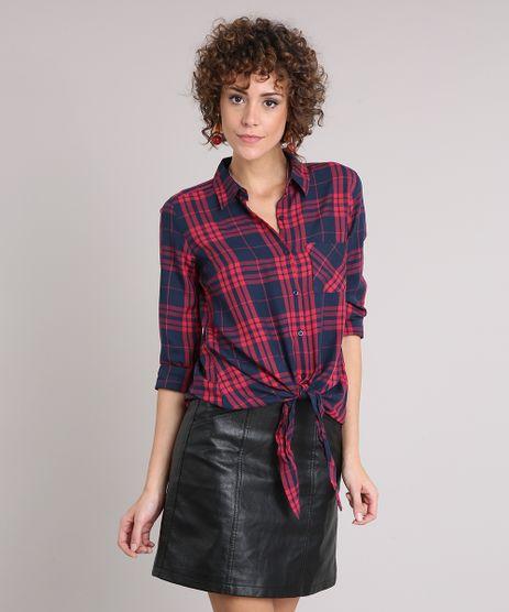 Camisa-Feminina-Xadrez-com-Amarracao-e-Bolso-Manga-Longa-Azul-Marinho-9171366-Azul_Marinho_1