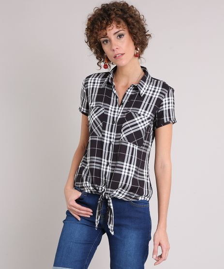 Camisa-Feminina-Xadrez-com-Amarracao-e-Bolsos-Manga-Curta-Preta-9171368-Preto_1