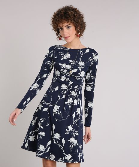 Vestido-Feminino-Floral-Curto-Drapeado-Manga-Longa-Decote-Redondo-Azul-Marinho-9126984-Azul_Marinho_1
