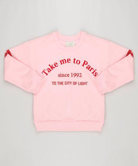 Blusao-Infantil--Take-Me-To-Paris--em-Moletom-Manga-Longa-Decote-Redondo-Rosa-9195316-Rosa_1