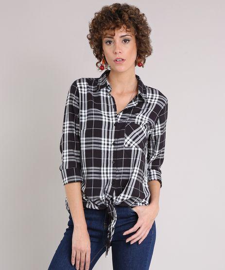 Camisa-Feminina-Xadrez-com-Amarracao-e-Bolso-Manga-Longa-Preta-9171365-Preto_1