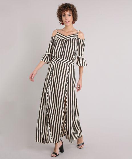 Vestido-Feminino-Listrado-Longo-com-Fendas-Open-Shoulder-Manga-Curta-Decote-V-Bege-9062679-Bege_1