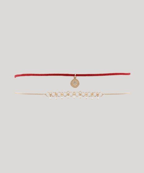 Kit-de-2-Gargantilhas-Choker-com-Pingentes-Dourado-9037243-Dourado_1