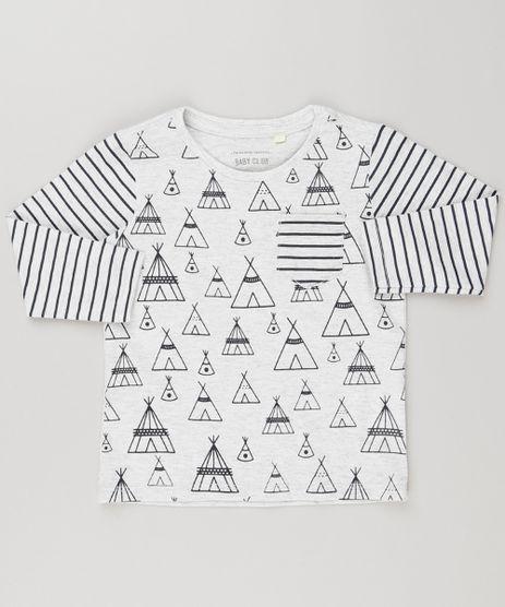 Camiseta-Infantil-com-Estampa-Listrada-com-Bolso-Manga-Longa-Gola-Careca-Cinza-Mescla-Claro-9140473-Cinza_Mescla_Claro_1
