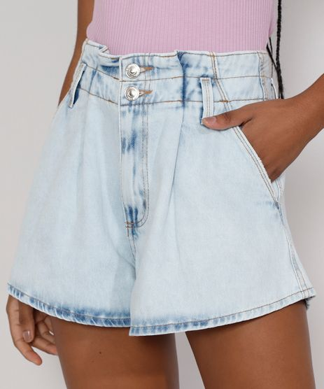 Short-Jeans-Feminino-Gode-Cintura-Super-Alta-Marmorizado-com-Pences-Azul-Claro-9985651-Azul_Claro_1