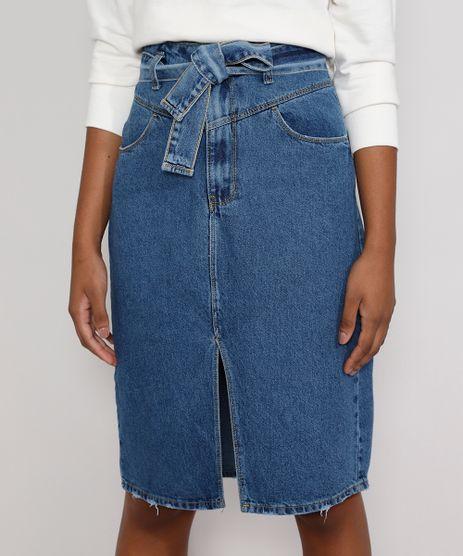 Saia-Jeans-Feminina-Midi-com-Fenda-e-Faixa-para-Amarrar-Azul-Medio-9985899-Azul_Medio_1
