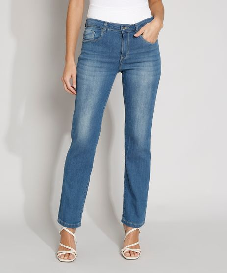 Calca-Jeans-Feminina-Reta-Cintura-Alta-Azul-Medio-9981652-Azul_Medio_1