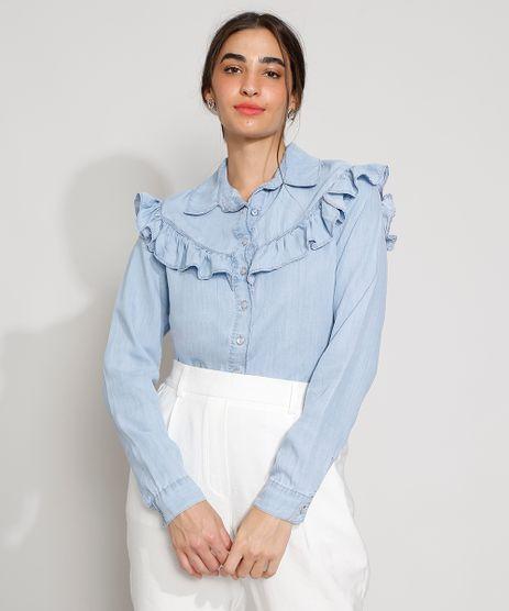 Camisa-Jeans-Feminina-Manga-Longa-com-Babados-Azul-Claro-9985967-Azul_Claro_1