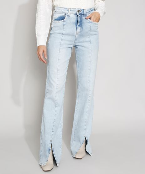 Calca-Jeans-Feminina-Cintura-Super-Alta-Flare-com-Fenda-Frontal-Azul-Claro-9985798-Azul_Claro_1