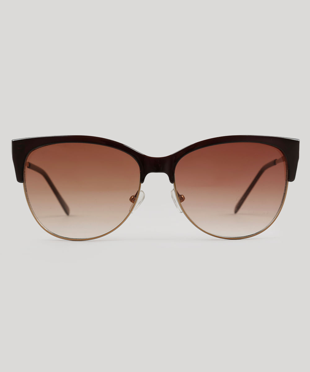 Óculos de Sol Redondo Feminino Oneself Marrom - ceacollections 5c23c6ca31