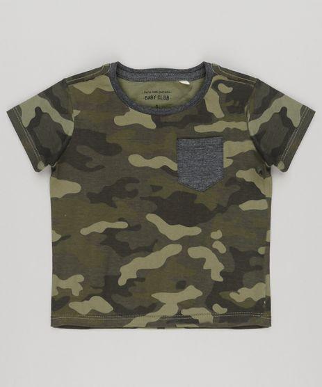Camiseta-Infantil-Estampada-Camuflada-com-Bolso-Manga-Curta-Gola-Careca-Verde-Militar-9140063-Verde_Militar_1