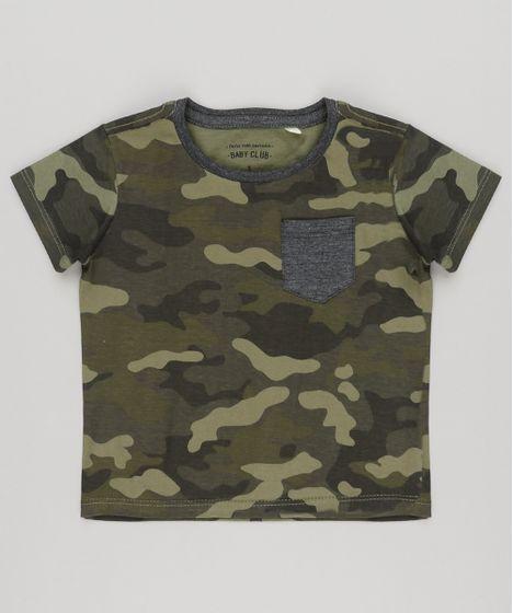 f8e9e3aa2d Camiseta Infantil Estampada Camuflada com Bolso Manga Curta Gola ...