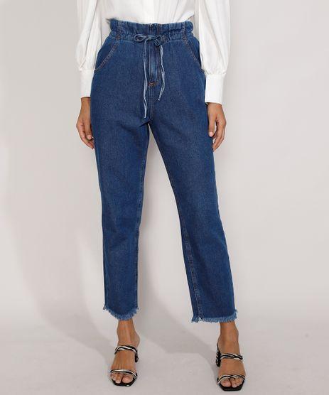 Calca-Jeans-Feminina-Clochard-Cintura-Super-Alta-com-Cordao-e-Barra-Desfiada-Azul-Medio-9985782-Azul_Medio_1