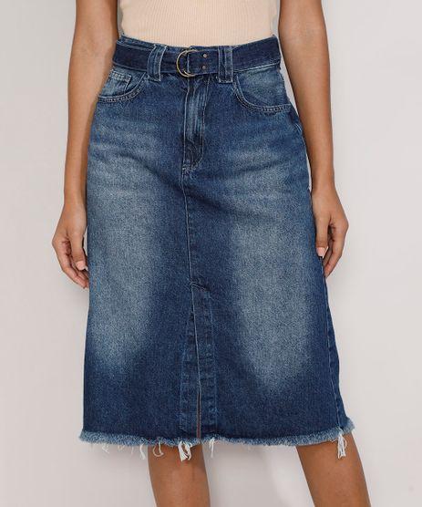 Saia-Jeans-Feminina-Midi-com-Fenda-e-Cinto-Azul-Escuro-9982947-Azul_Escuro_1